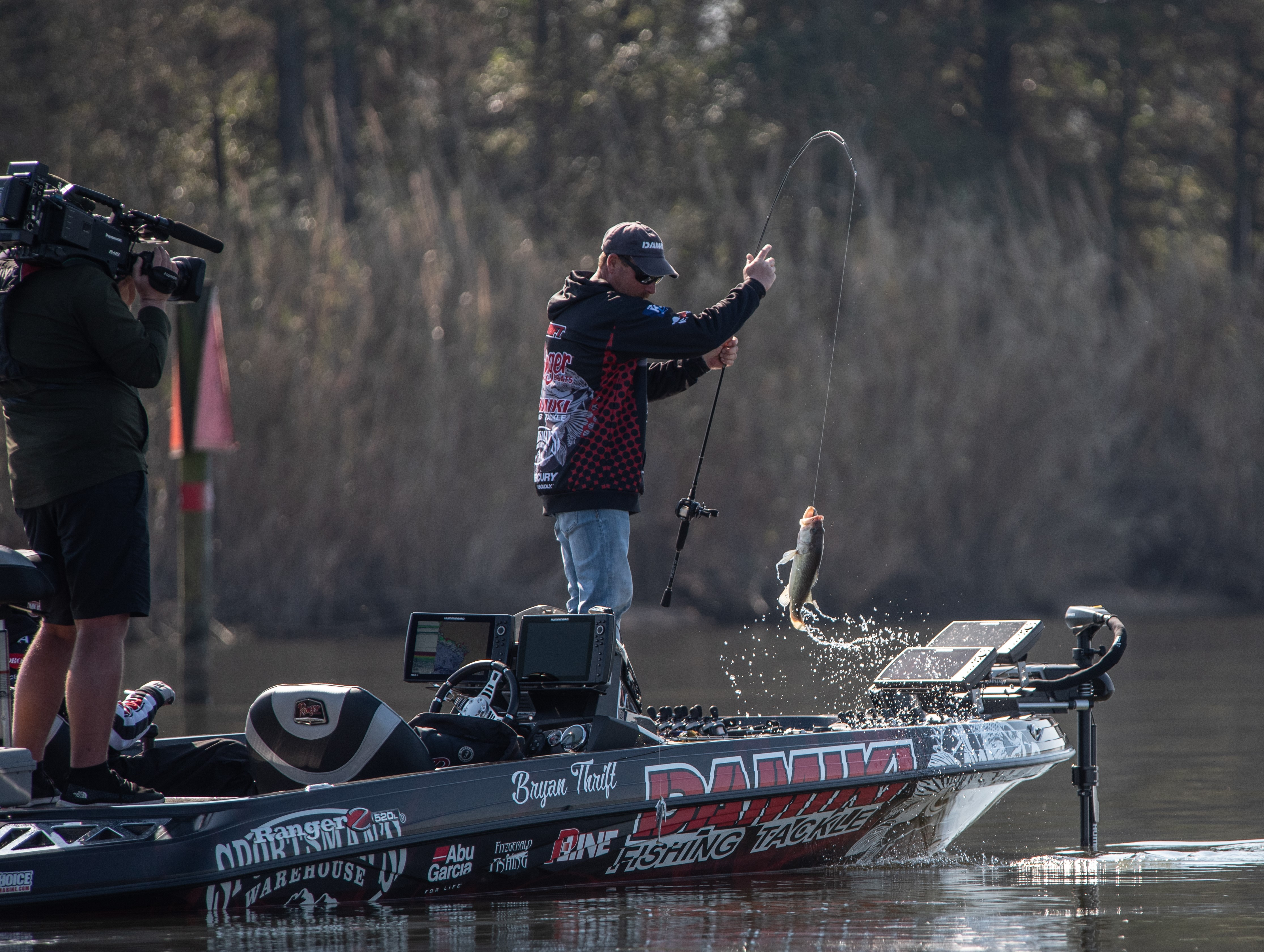 Bryan Thrift reeling in a catch at the 2021 MLF REDCREST competition