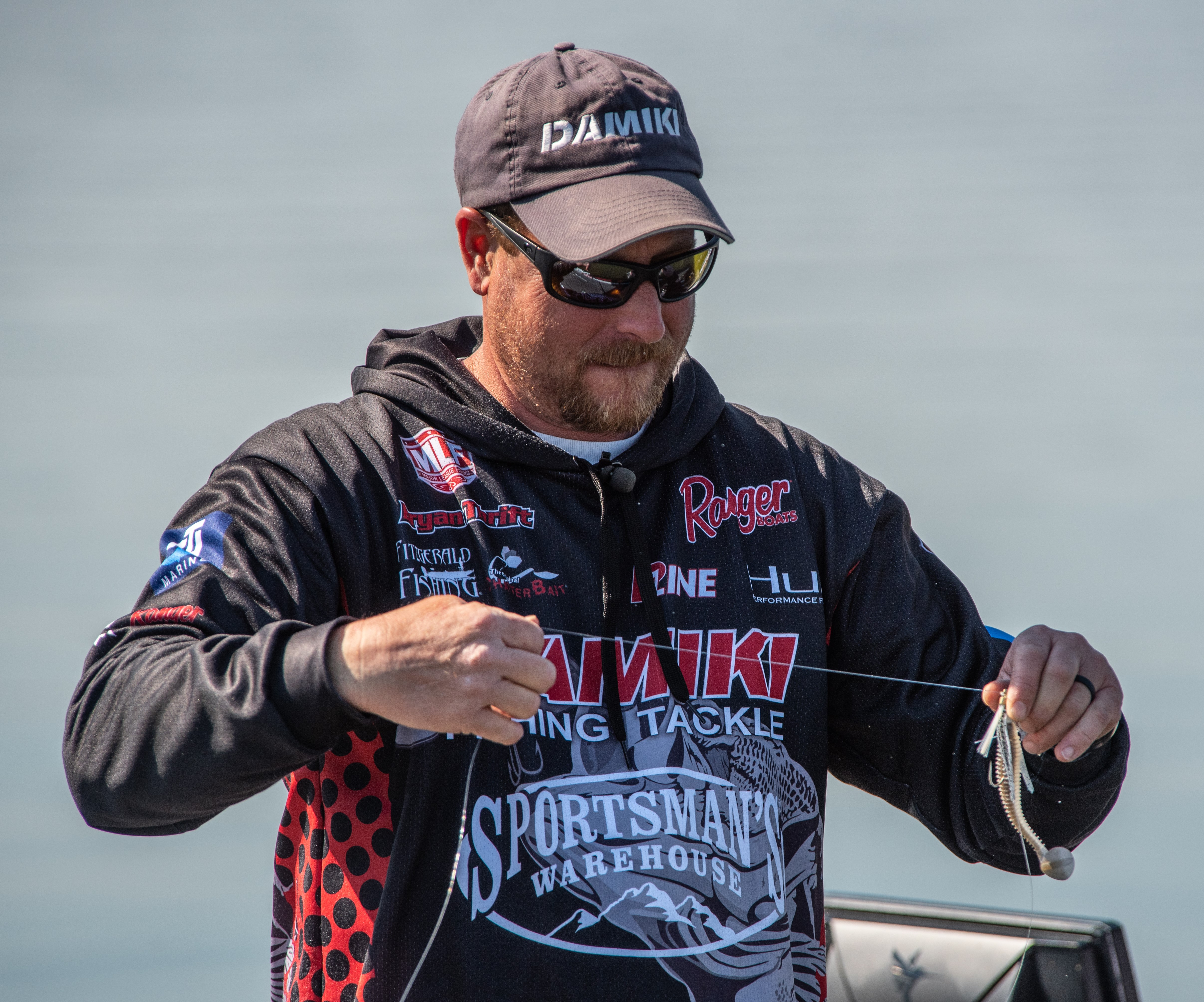Bryan Thrift baiting his line at the 2021 MLF REDCREST competition